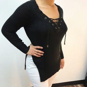 Sweaters - ‼️ Black Heavy Split Sweater LaceUp Tunic